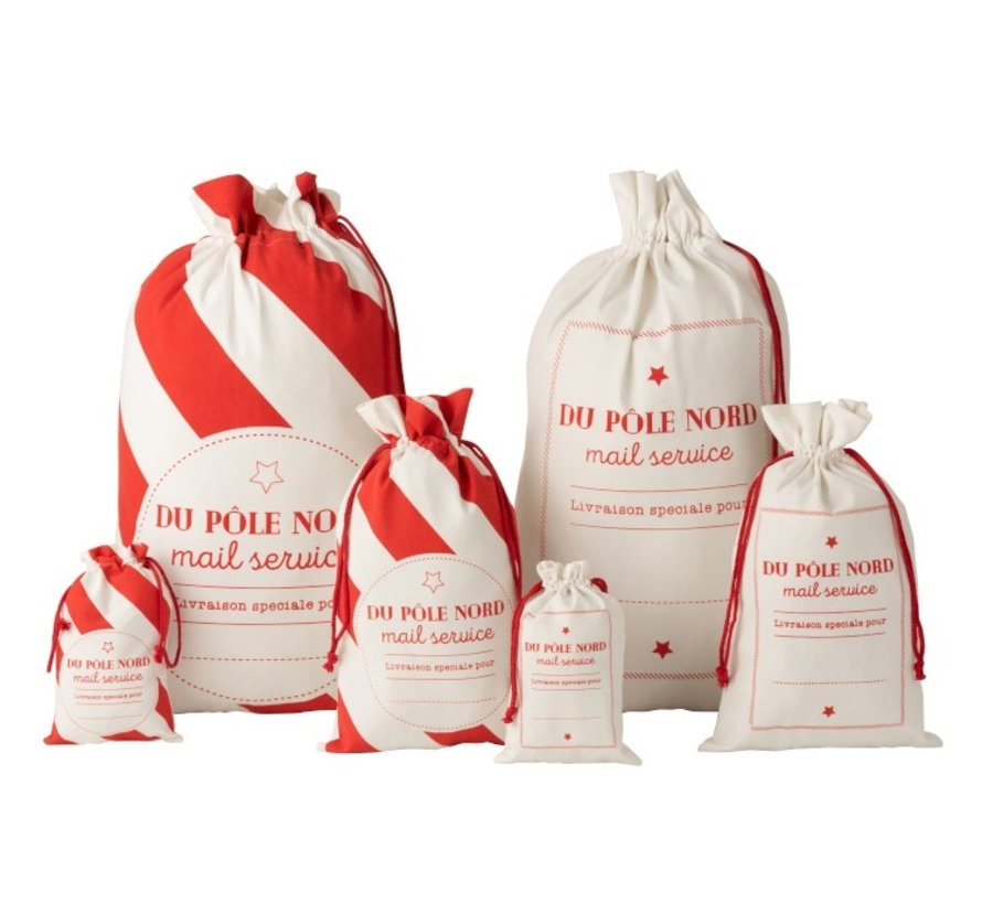 Storage bags Christmas atmosphere Text Cotton White Red - Large
