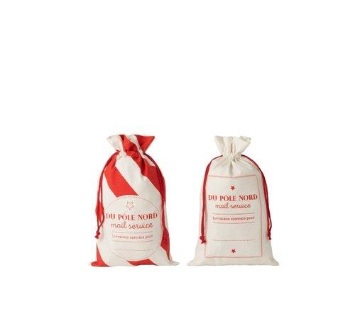 J -Line Storage bags Christmas atmosphere Text Cotton White Red - Medium