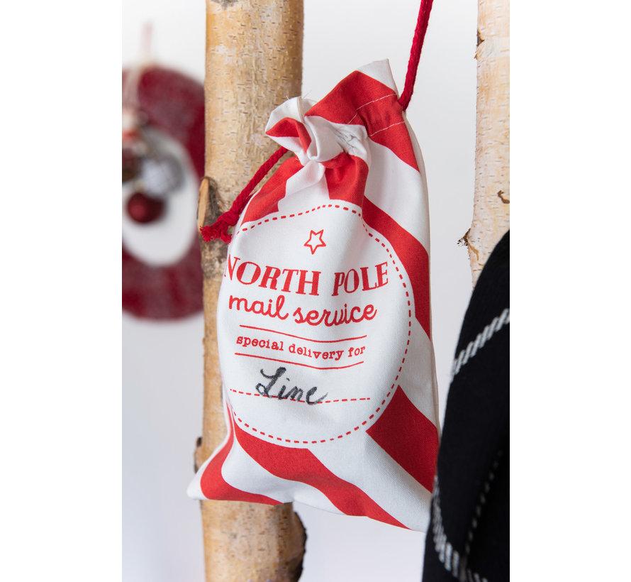 Storage bags Christmas atmosphere Text Cotton White Red - Medium
