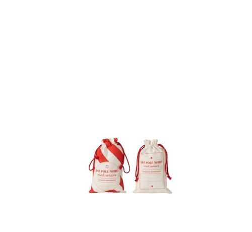 J -Line Storage bags Christmas atmosphere Text Cotton White Red - Small