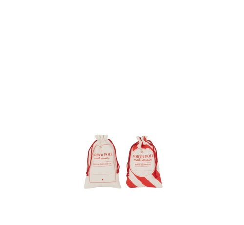 J -Line Storage bags Christmas atmosphere English Text Cotton White Red - Small