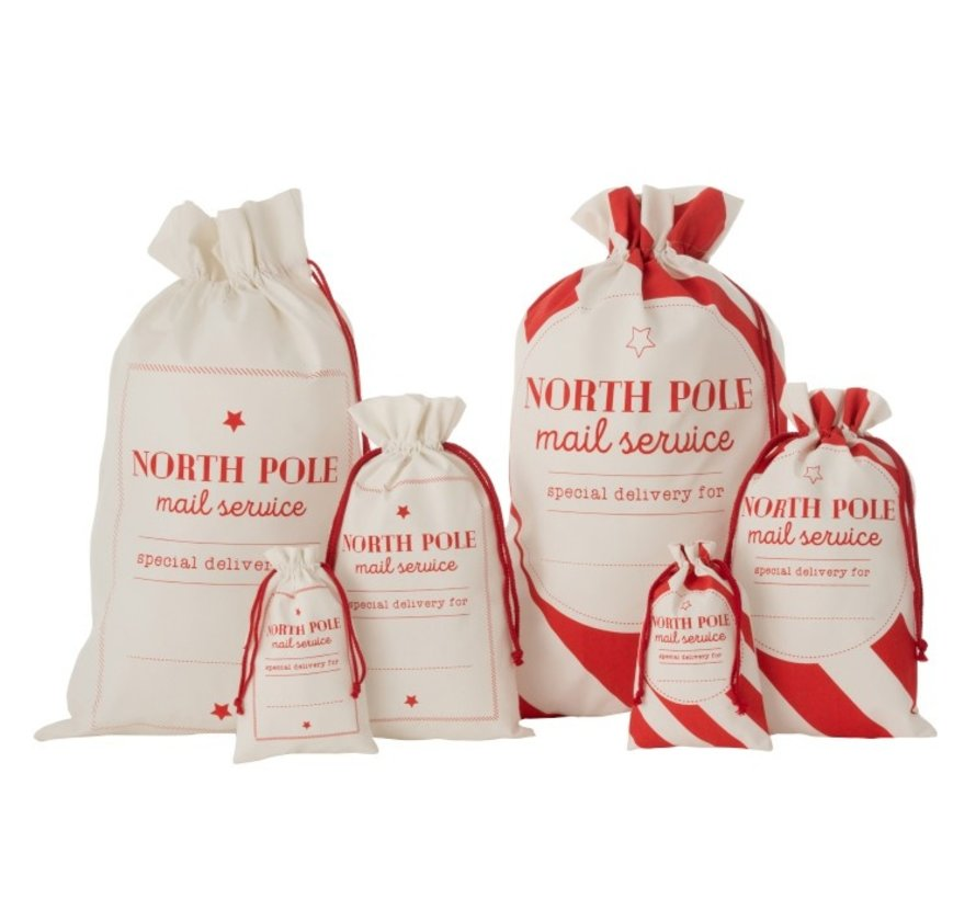 Storage bags Christmas atmosphere English Text Cotton White Red - Small