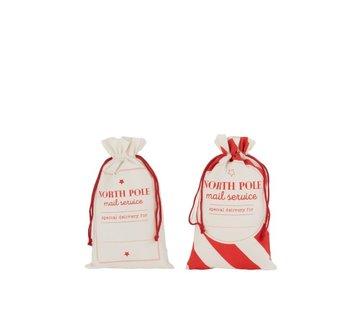 J -Line Storage bags Christmas atmosphere English Text Cotton White Red - Medium