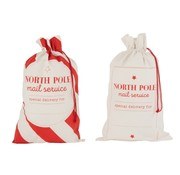 J -Line Storage bags Christmas atmosphere English Text Cotton White Red - Large