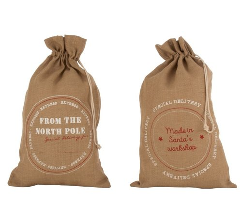 J -Line Christmas bags Christmas atmosphere English Text Jute Brown - Large