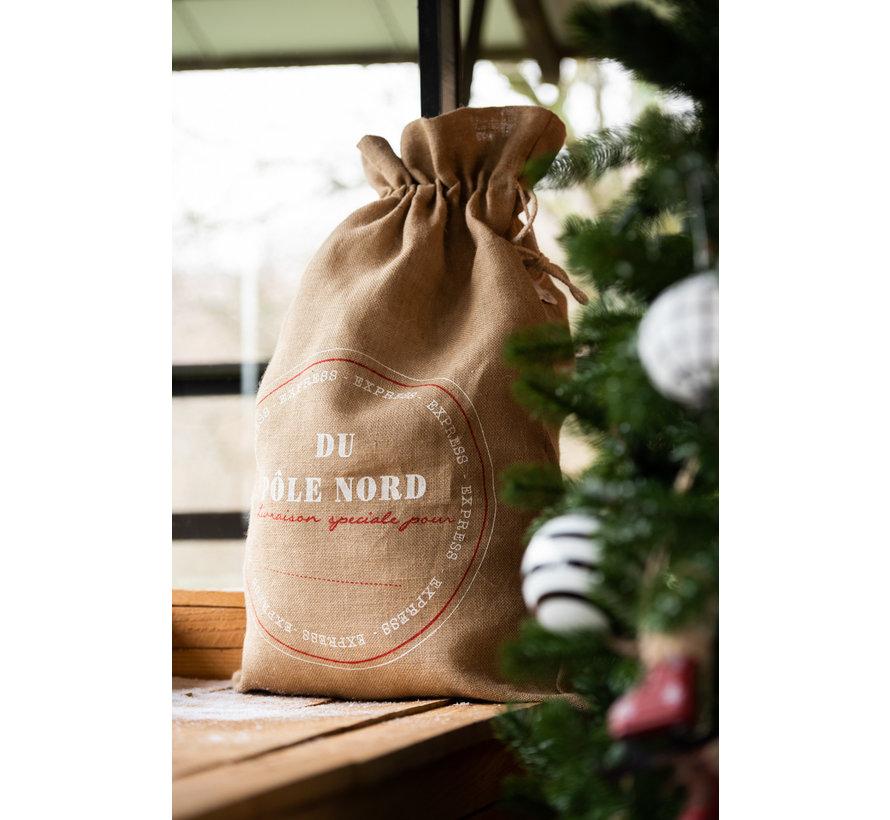 Kerstzakken Kerstsfeer Engels Tekst Jute Bruin - Large