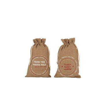 J-Line Christmas bags Christmas atmosphere English Text Jute Brown - Medium