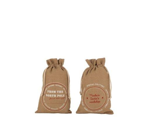 J -Line Christmas bags Christmas atmosphere English Text Jute Brown - Medium