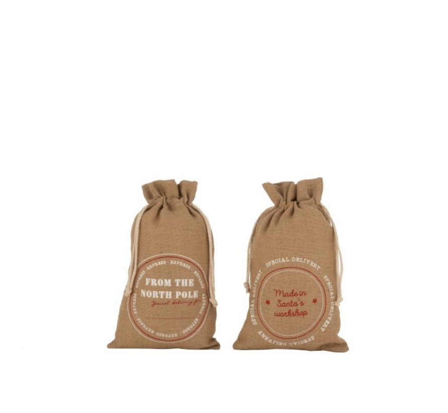 Christmas bags Christmas atmosphere English Text Jute Brown - Medium