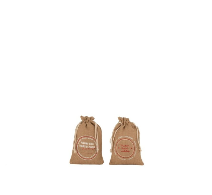 Christmas bags Christmas atmosphere English Text Jute Brown - Small