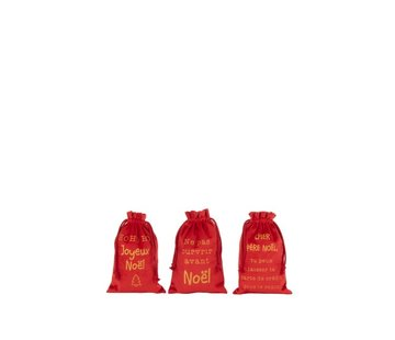 J -Line Christmas bags Christmas French Text Velvet Red Gold - Small
