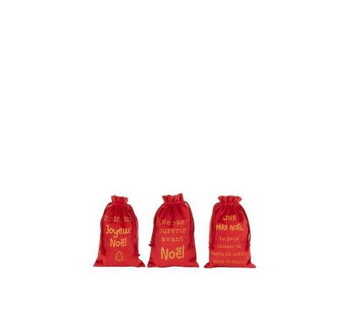 J -Line Kerstzakken Kerst Franse Teksten Velvet Rood Goud - Small