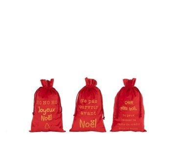 J -Line Kerstzakken Franse Teksten Velvet Rood Goud - Medium