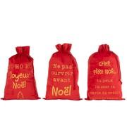 J-Line Kerstzakken Franse Teksten Velvet Rood Goud - Large