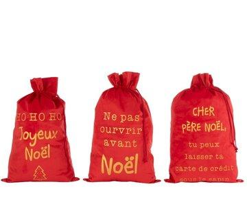 J -Line Kerstzakken Franse Teksten Velvet Rood Goud - Large