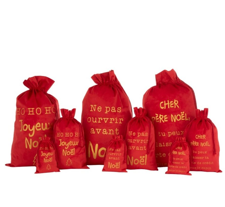 Christmas Bags French Text Velvet Red Gold - Large