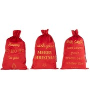 J -Line Christmas Bags English Text Velvet Red Gold - Large