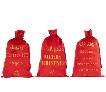 J-Line Christmas Bags English Text Velvet Red Gold - Large