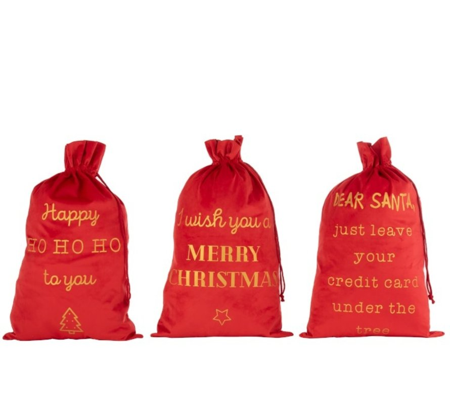Christmas Bags English Text Velvet Red Gold - Large