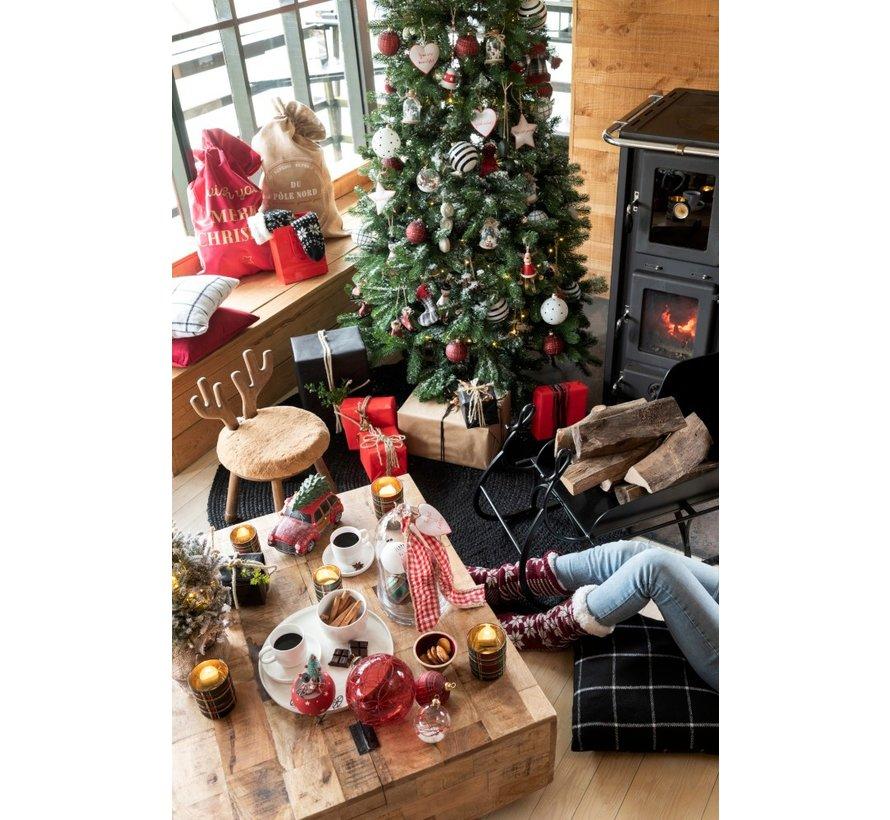 Kerstzakken Engelse Teksten Velvet Rood Goud - Large