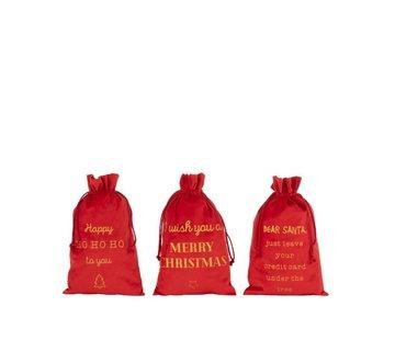 J-Line  Kerstzakken Engelse Teksten Velvet Rood Goud - Medium