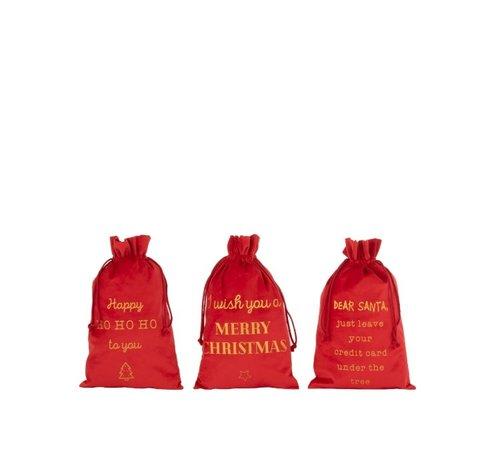 J -Line Christmas Bags English Text Velvet Red Gold - Medium