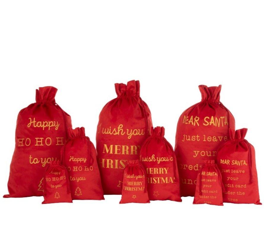 Kerstzakken Engelse Teksten Velvet Rood Goud - Medium