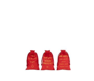 J-Line Christmas Bags English Text Velvet Red Gold - Small