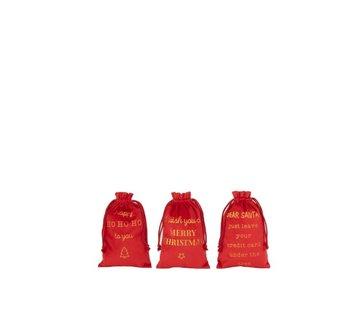 J -Line Kerstzakken Engelse Teksten Velvet Rood Goud - Small