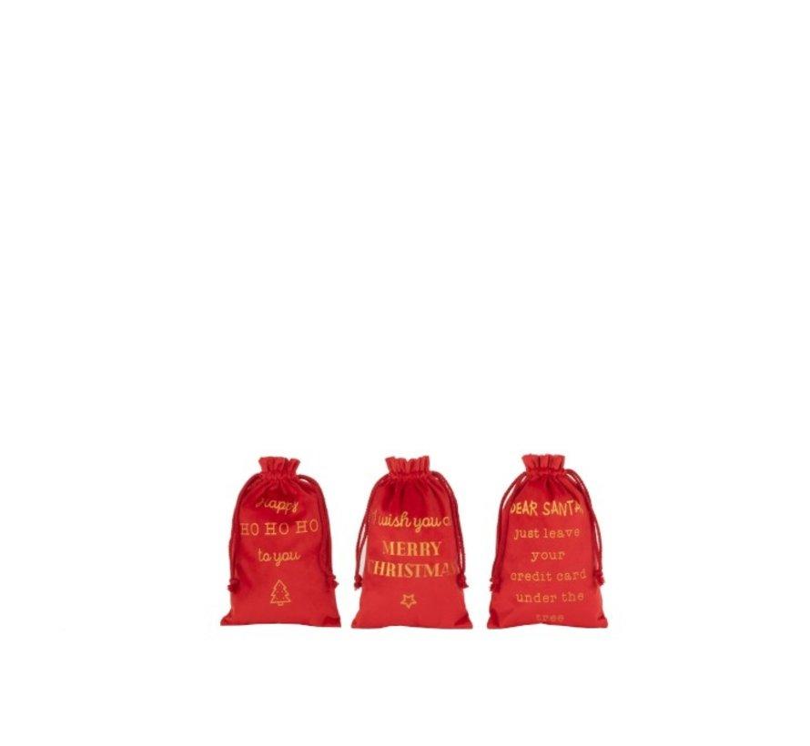 Kerstzakken Engelse Teksten Velvet Rood Goud - Small
