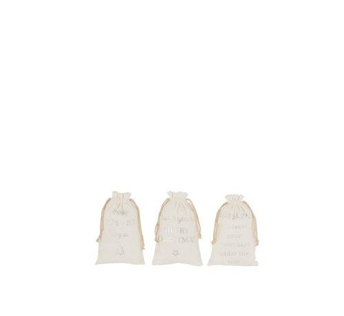 J -Line Kerstzakken Engelse Teksten Velvet Wit Ziver - Small