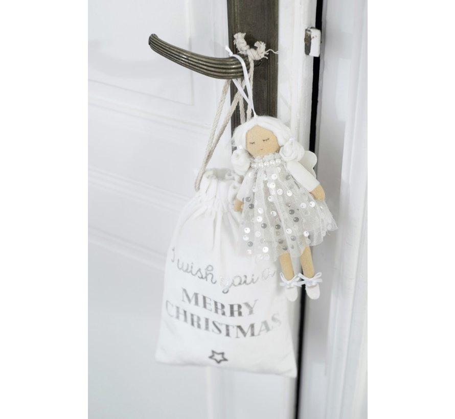 Kerstzakken Engelse Teksten Velvet Wit Ziver - Small