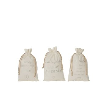 J -Line Christmas Bags English Text Velvet White Ziver - Medium
