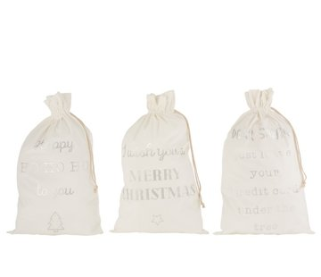 J -Line Christmas Bags English Text Velvet White Silver - Large