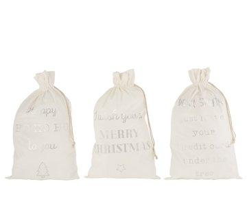 J -Line Kerstzakken Engelse Teksten Velvet Wit Zilver - Large