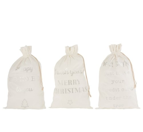 J -Line Christmas Bags English Text Velvet White Silver - Large