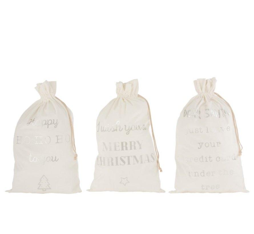 Christmas Bags English Text Velvet White Silver - Large