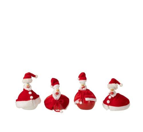 J -Line Decoratie Kippen Kerstmannen Cape Rood Wit - Small