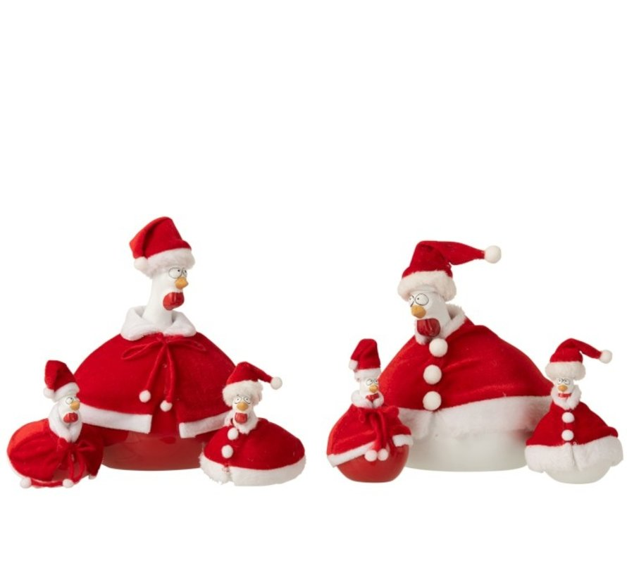Decoration Chickens Santa Clauses Cape Red White - Small
