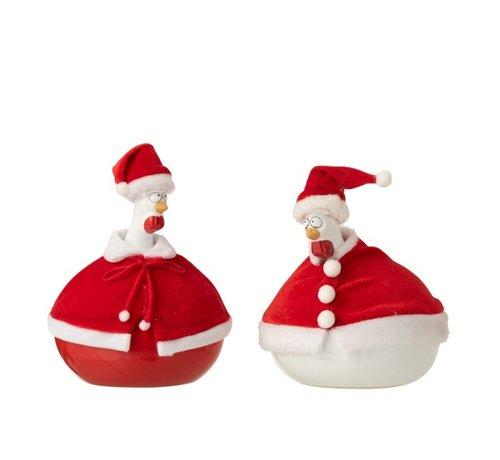 J -Line Decoratie Kippen Kerstmannen Cape Rood Wit - Large