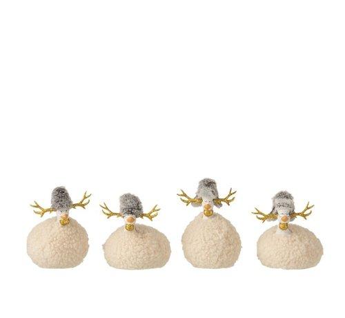 J -Line Decoration Chickens Reindeer Imitation Fur Beige Gray Gold - Small