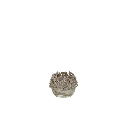 J -Line Theelichthouder Bol Juwelen Metaal Glas Zilver - Small