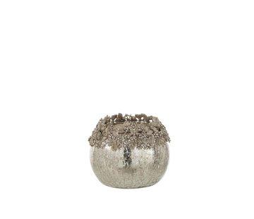 J-Line Theelichthouder Bol Juwelen Metaal Glas Zilver - Medium