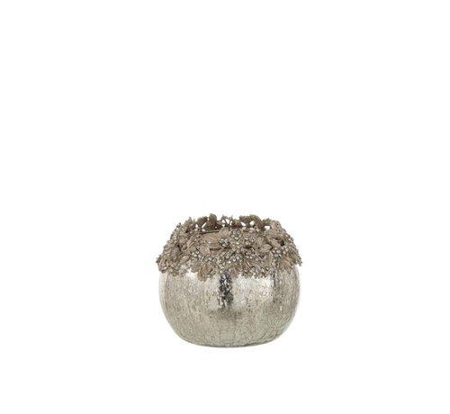 J -Line Tealight holder Sphere Jewels Metal Glass Silver - Medium