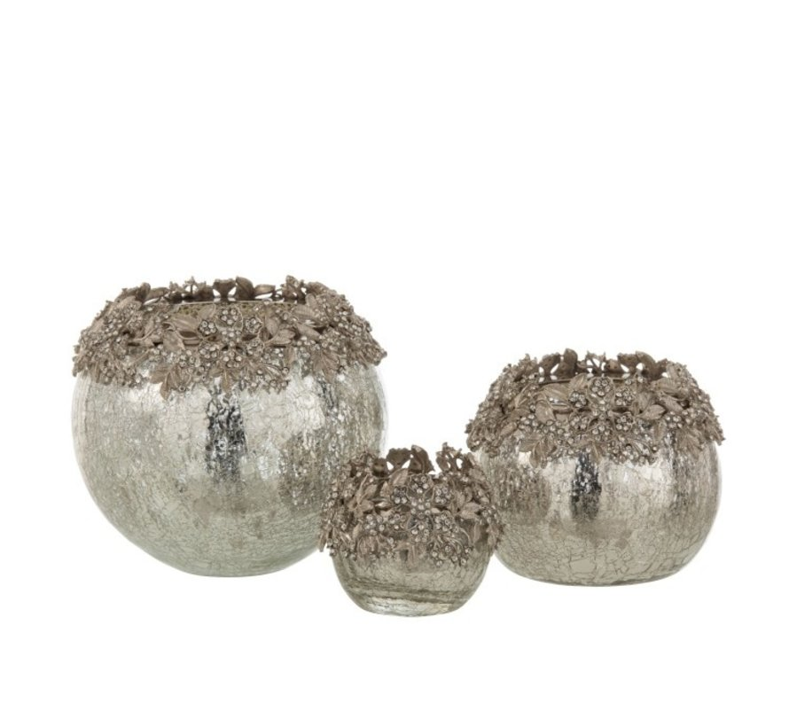 Theelichthouder Bol Juwelen Metaal Glas Zilver - Medium