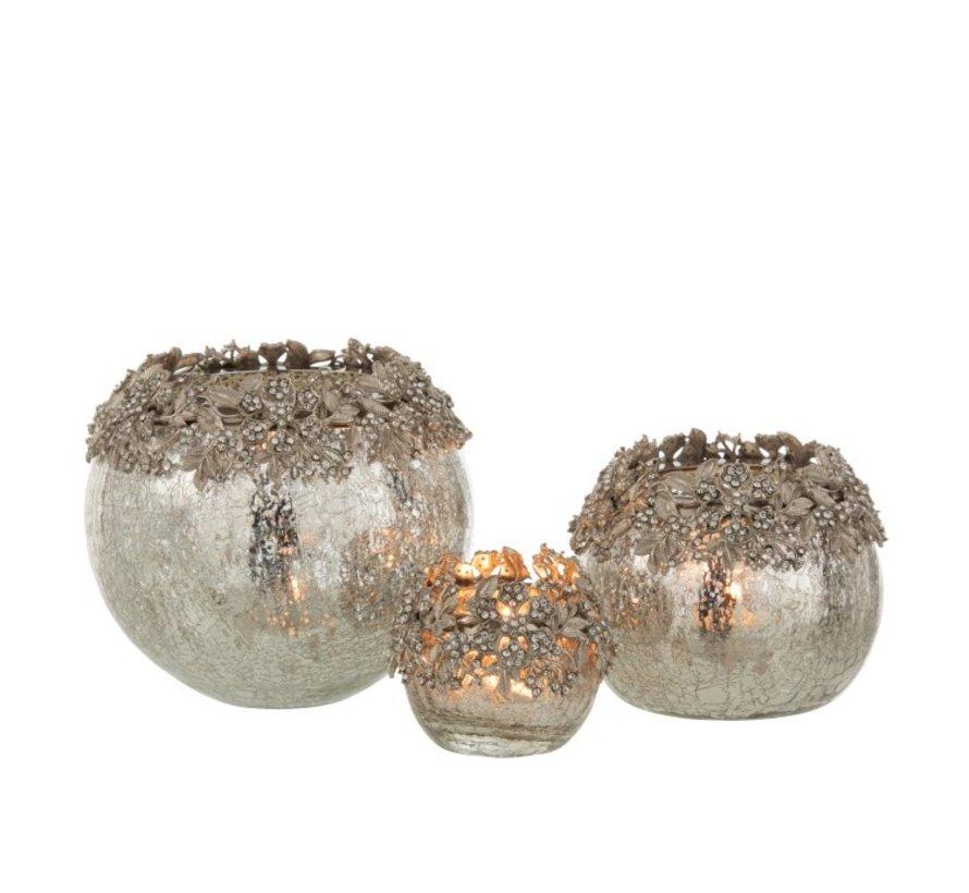 Tealight holder Sphere Jewels Metal Glass Silver - Medium