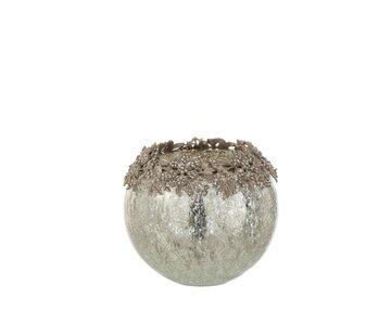 J-Line Theelichthouder Bol Juwelen Metaal Glas Zilver - Large