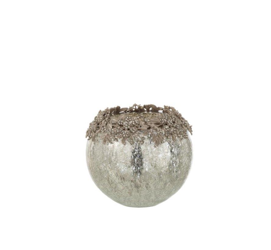 Tealight holder Sphere Jewels Metal Glass Silver - Large