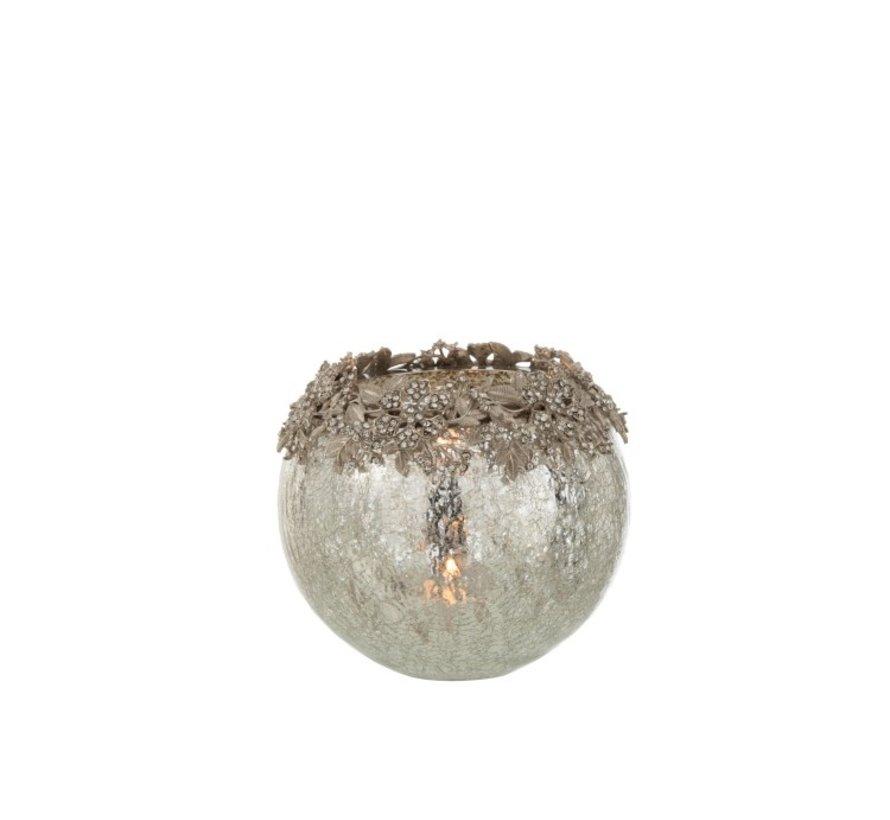 Theelichthouder Bol Juwelen Metaal Glas Zilver - Large