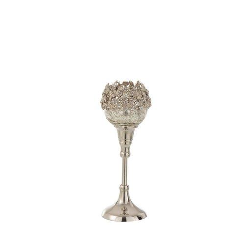 J-Line Theelichthouder Op Voet Juwelen Metaal Glas Zilver - Small